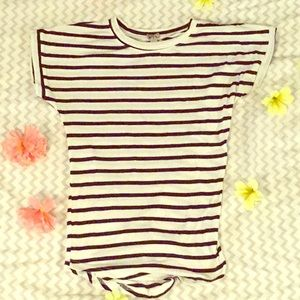 Navy blue and white striped tee.